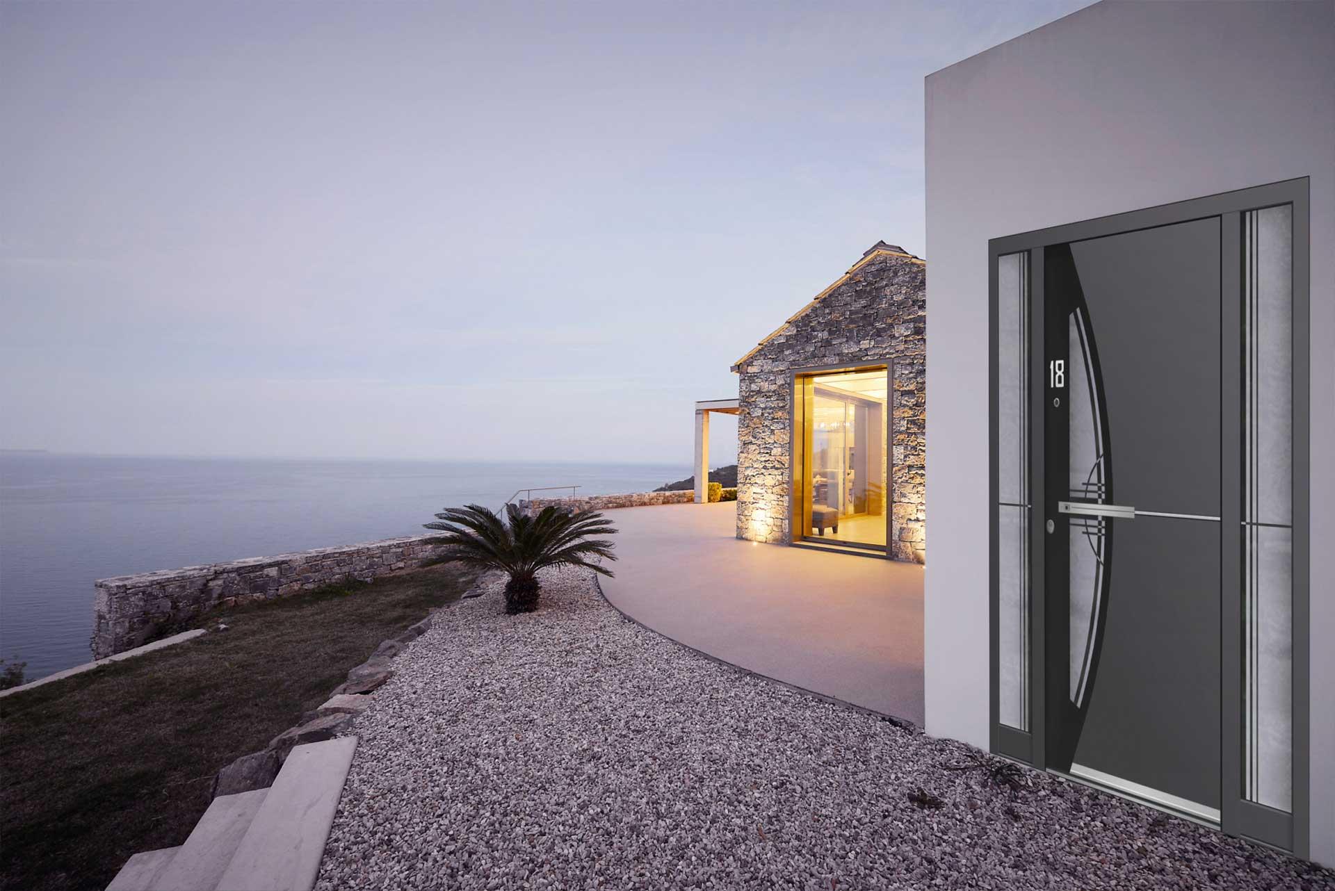 designer door by the ocean
