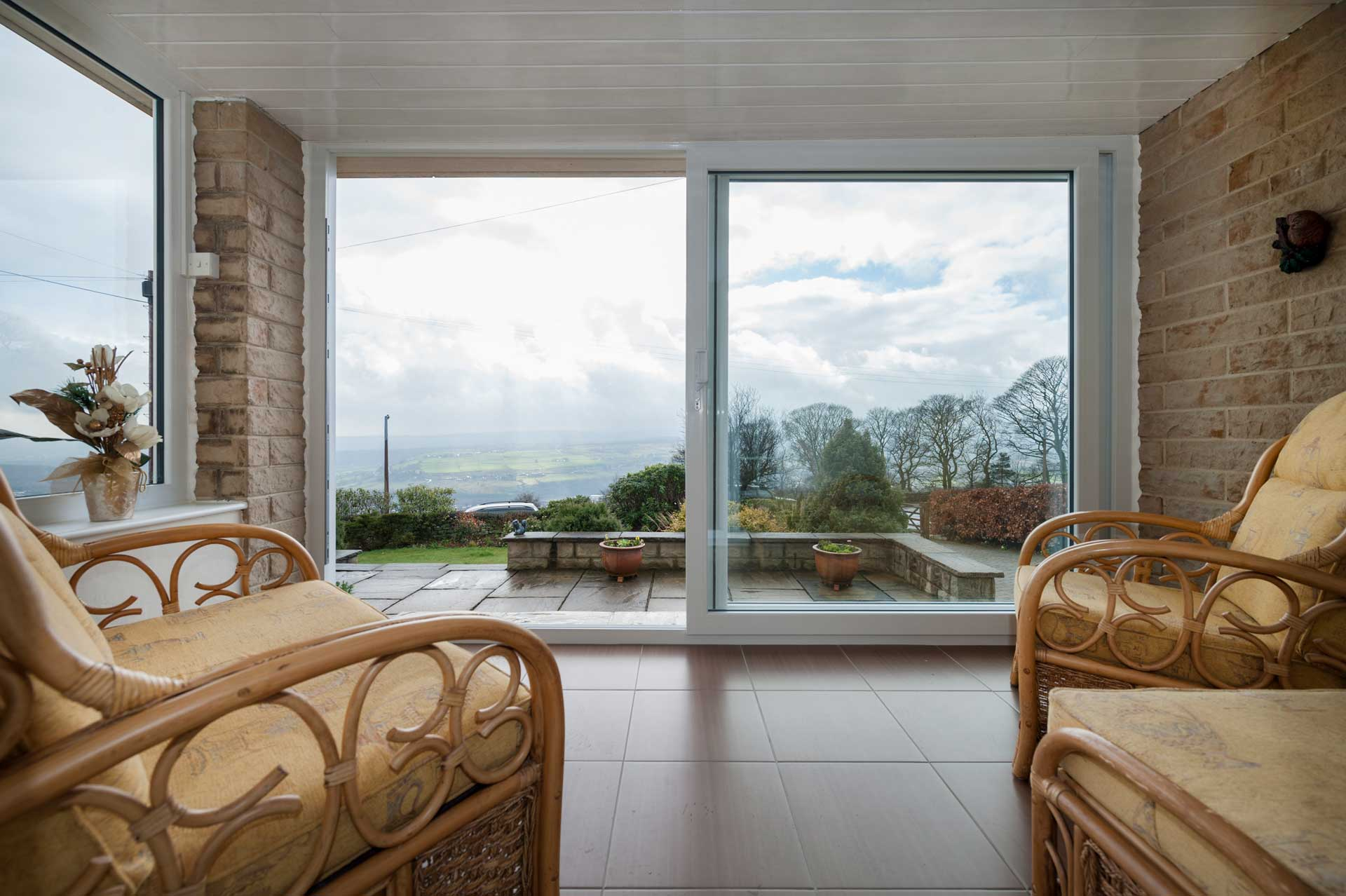 french sliding doors opening up to the country side