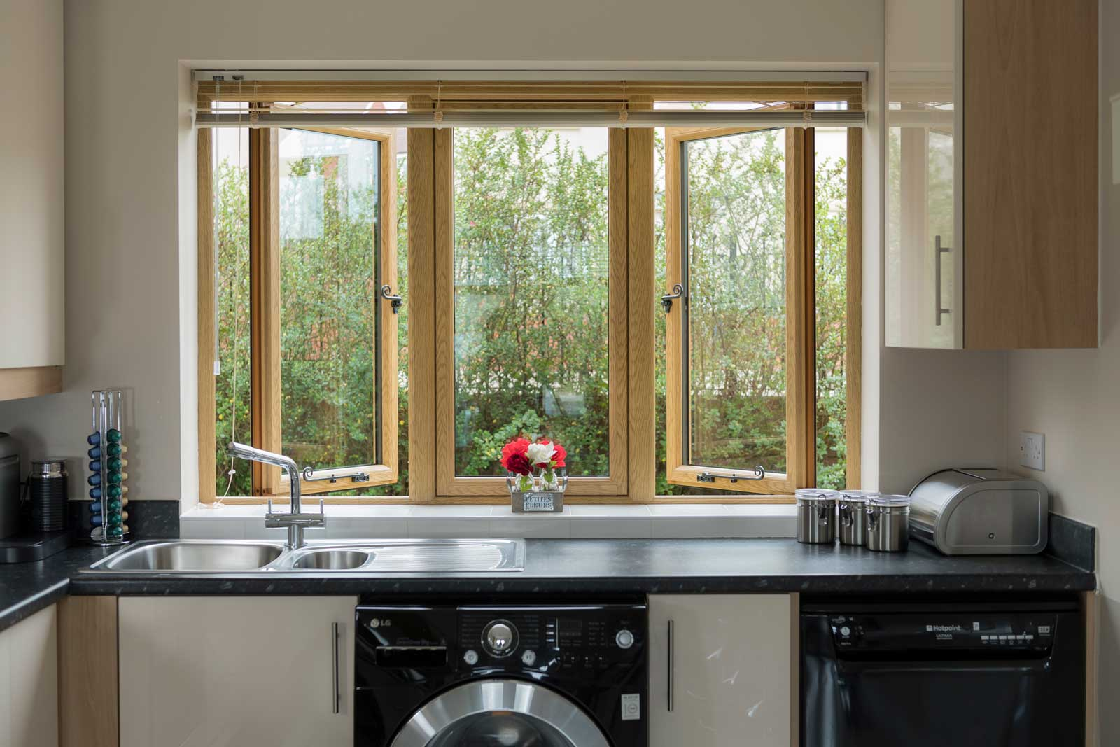 flush casement windows in wood
