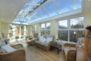 conservatory with flat skylight