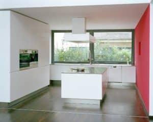 modern aluminium frame windows in kitchen